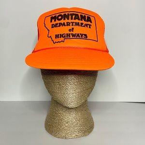 Vintage Neon Orange Montana Highway Snap Back Hat